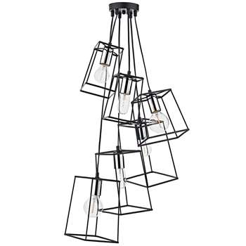 Dar Tower 6 Light Pendant Ceiling Light Black/Chrome (H130 x W50 x D50cm)