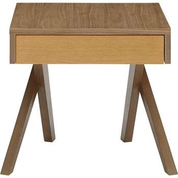 Darcey Bedside Table, Oak and Walnut (45 x 46cm)