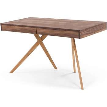 Darcey Desk, Walnut and Oak (H73 x W130 x D60cm)