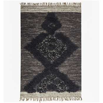 Dark Grey Aztec Patterned Rug - Dark Grey (120 x 180cm)