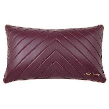Dark Purple Faux Leather Cushion Cover (H30 x W50cm)
