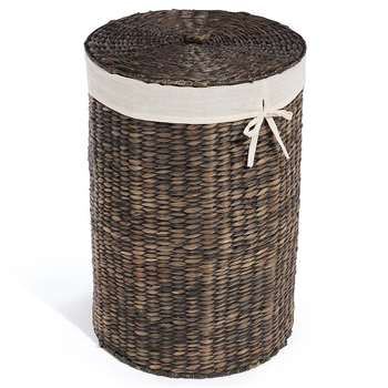 Dark Water Hyacinth Round Laundry Basket (58 x 40cm)