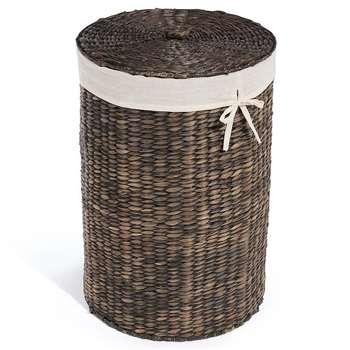 Dark Water Hyacinth Round Laundry Basket (58 x 40cm)