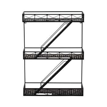 DARREN metal wall shelf unit in black H 70cm