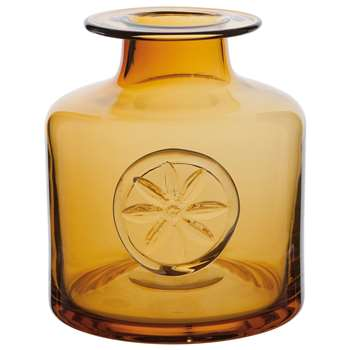 Dartington Crystal Clematis Bottle Vase, Amber (Height 15cm)