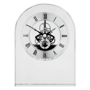 Dartington Crystal Curve Clock, Clear (Height 15cm)