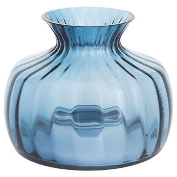 Dartington Crystal Cushion Medium Posy Vase, Optic Ink (H14.5 x W16 x D16cm)