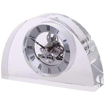Dartington Crystal Oval Glass Clock, Clear (H11 x W17cm)
