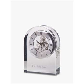 Dartington Crystal Personalised Curve Clear Clock, Gabriola Font (Height 15cm)