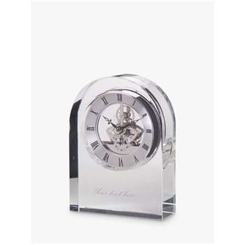 Dartington Crystal Personalised Curve Clear Clock, Palace Script Font (Height 15cm)