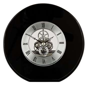 Dartington Crystal Round Mantel Clock, Dia. 15cm, Black (H15 x W15cm)