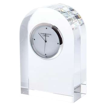 Dartington Crystal Small Curve Clock, Clear (Height 10.8cm)