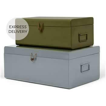 Daven Set of 2 Metal Storage Box Trunks, Green and Grey (H24 x W60 x D36cm)