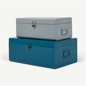 Daven Set of 2 Metal Storage Box Trunks, Teal & Grey (H24 x W60 x D36cm)