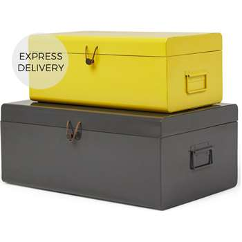 Daven Set of 2 Metal Storage Box Trunks, Yellow & Charcoal (H24 x W60 x D36cm)