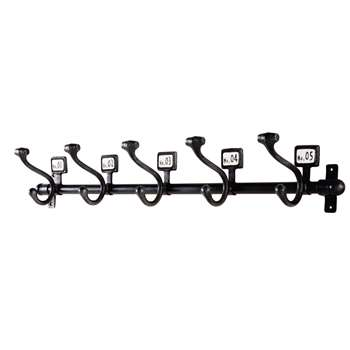 DAVID - 5-Hook Black Metal Coat Rack (H13.5 x W82 x D14.5cm)