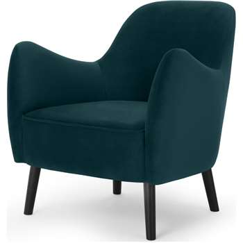 Davis Accent Chair, Lagoon Blue Velvet (H84 x W81 x D84cm)