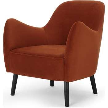 Davis Accent Chair, Nutmeg Orange Velvet (H84 x W81 x D84cm)