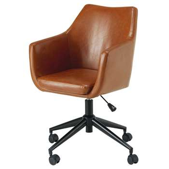 DAVIS Antique brown coated textile desk chair (84 x 58cm)