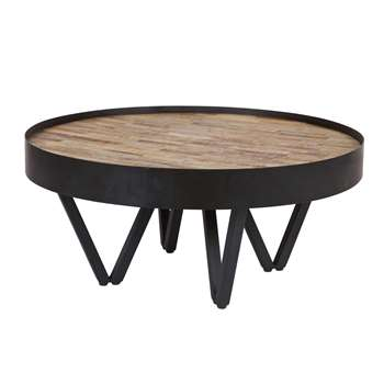 Dax Round Coffee Table with Wooden Inlay (Diameter 74cm)