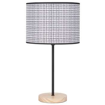 DAY SQUARE Pine Lamp with Chequered Print Shade (H46 x W25 x D25cm)