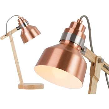 Dean Table Lamp, Wood & Brushed Copper (50 x 18cm)