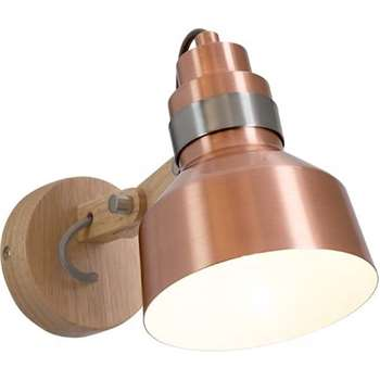 Dean Wall Lamp, Wood & Brushed Copper (19 x 29.5cm)