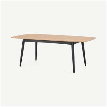 Deauville 6-8 Seat Extending Dining Table, Oak & Charcoal Black (H74.5 x W160 x D100cm)