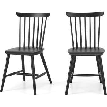 Deauville Set of 2 Dining Chairs, Charcoal Black (H84 x W47 x D57cm)
