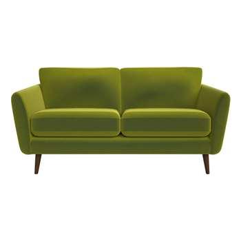 Debenhams 2 Seater Velvet isabella Sofa, Dark Wood, Green (86 x 174cm)