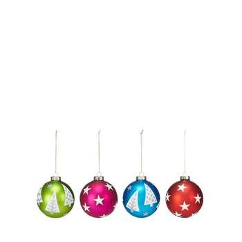 Debenhams - 4 Pack Multicoloured Star Pattern Baubles