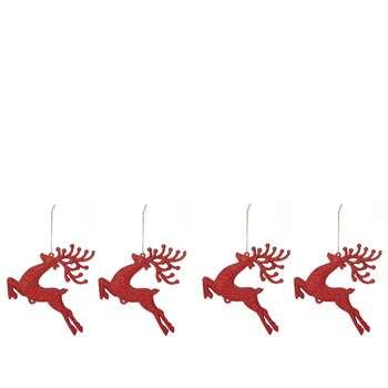 Debenhams - 4 Pack Red Glitter Reindeer Christmas Tree Decorations
