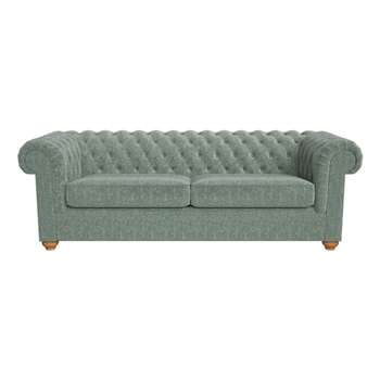 Debenhams 4 Seater Chenille chesterfield Sofa, Light Wood, Turquoise (72 x 225cm)