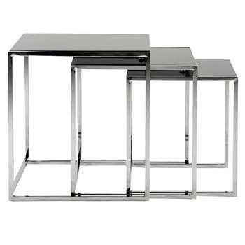 Debenhams Black Glass vancouver Nest of 3 Tables (50 x 55cm)