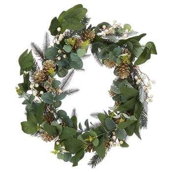 Debenhams - Green Eucalyptus, Pinecone And White Berry Wreath (H37.5 x W37 x D8cm)