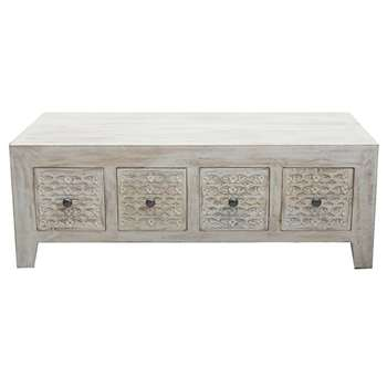 Debenhams Mango Wood ashoka Coffee Table With Drawers, Off White (H50 x W126 x D61cm)