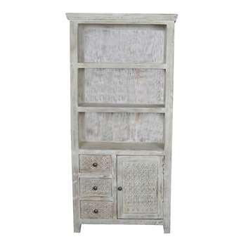 Debenhams Mango Wood ashoka Display Cabinet, Off White (177 x 85cm)