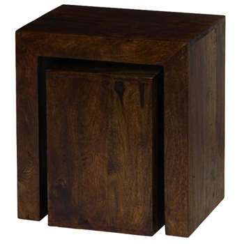 Debenhams Mango Wood Nest of 2 Tables, Brown (54 x 50cm)