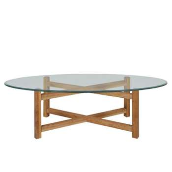 Debenhams Oak and glass Tokyo coffee table (45 x 140cm)
