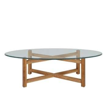 Debenhams Oak and Glass tokyo Coffee Table, Light Brown (45 x 140cm)