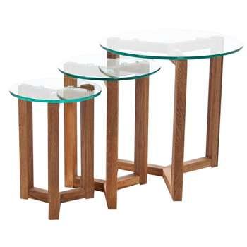 Debenhams Oak and Glass tokyo Nest of 3 Tables (50 x 50cm)