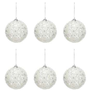Debenhams - Pack Of 6 Silver Sequinned Christmas Tree Baubles