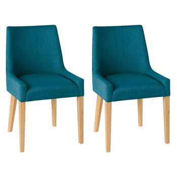 Debenhams Pair of Teal Blue ella Upholstered Tub Dining Chairs With Light Oak Legs (86 x 51cm)