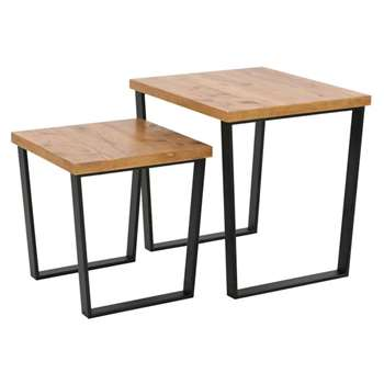 Debenhams Pine Effect and Metal brunel Nest of 2 Tables, Dark Brown (50 x 50cm)