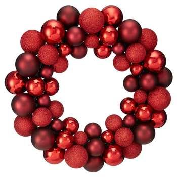 Debenhams - Red Bauble Wreath (H35 x W35 x D7.5cm)