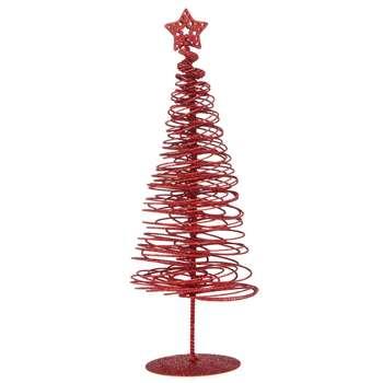Debenhams - Red Glitter Swirl Christmas Tree Ornament (H34 x W12 x D12cm)