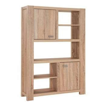 Debenhams Washed White Oak Effect cleves Bookcase, Light Brown (144 x 101cm)