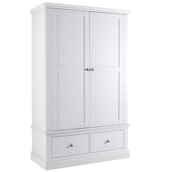 Debenhams - White Oxford Double Wardrobe With Drawers (H203 x W125 x D57cm)