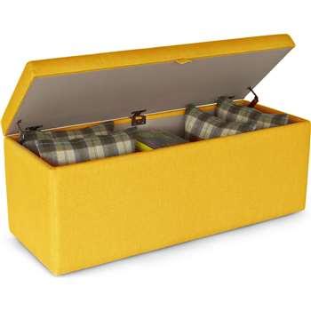 Decker Upholstered Storage Bench, Dandelion Yellow (45 x 120cm)