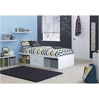 Declan - Single Cabin Bed with Storage - White (42 x 96cm)